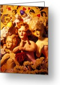 Doll Greeting Cards - Three old dolls Greeting Card by Garry Gay