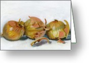 Food Greeting Cards - Three Onions Greeting Card by Sarah Lynch