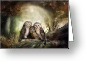 Barn Mixed Media Greeting Cards - Three Owl Moon Greeting Card by Carol Cavalaris