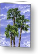 Reinhardt Greeting Cards - Three Palms Greeting Card by Lisa Reinhardt