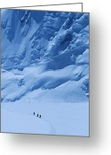 Expedition Greeting Cards - Three People Skiing Up The Kahiltna Greeting Card by Bill Hatcher