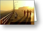 Five People Greeting Cards - Three People Walking Down Boardwalk Greeting Card by Copyright Eric Reichbaum
