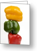Filled Greeting Cards - Three peppers Greeting Card by Bernard Jaubert