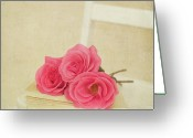 Carolina Greeting Cards - Three Pink Roses Laying On Book On White Chair Greeting Card by Kim Fearheiley Photography