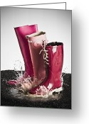 Puddle Greeting Cards - Three Pink Rubber Boots Splashing In A Puddle Greeting Card by Larry Washburn