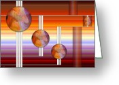 Horizontal Lines Digital Art Greeting Cards - Three plus 4 Greeting Card by Sue Gardiner