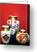 Glass Ceramics Greeting Cards - Three Pots Greeting Card by Xafira Mendonsa
