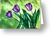 Digitalized Greeting Cards - Three Pretty Tulips Greeting Card by Marsha Heiken