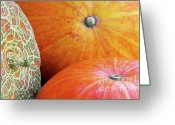 Eat Greeting Cards - Three Pumpkins Greeting Card by Carlos Caetano