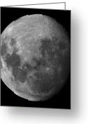 Lunar Mare Greeting Cards - Three Quarter Moon Greeting Card by Rolf Geissinger