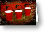 Plaque Greeting Cards - Three Red Buckets Greeting Card by Svetlana Sewell