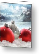 Mountain Landscape Greeting Cards - Three red christmas balls in the snow Greeting Card by Sandra Cunningham