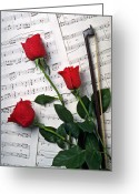 Flowers Greeting Cards - Three Red Roses  Greeting Card by Garry Gay