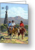 Rancher Greeting Cards - Three Riders Greeting Card by Randy Follis