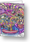 Tribal Drawings Greeting Cards - Three Greeting Card by Robert Wolverton Jr