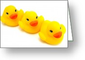 Lynnette Johns Greeting Cards - Three Rubber Ducks Greeting Card by Lynnette Johns