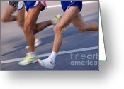 Jogging Photo Greeting Cards - Three runners Greeting Card by Sami Sarkis