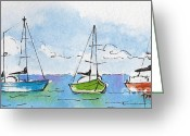 South Seas Greeting Cards - Three Sailboats Near Tahiti Greeting Card by Pat Katz