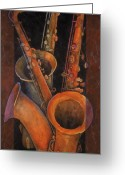 Horn Greeting Cards - Three Sax Greeting Card by Susanne Clark