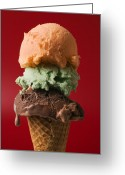 Desserts Greeting Cards - Three scoop ice cream on red background Greeting Card by Garry Gay