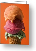 Desserts Greeting Cards - Three scoops  Greeting Card by Garry Gay