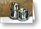 Sterling Silver Greeting Cards - Three Sterling Cups Greeting Card by Amy Higgins
