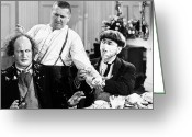 Film Still Greeting Cards - Three Stooges: Film Still Greeting Card by Granger