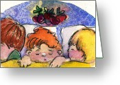Christ Child Greeting Cards - Three Sugar Plum Dreamers Greeting Card by Mindy Newman