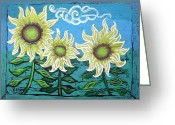 Murals Greeting Cards - Three Sunflowers Greeting Card by Genevieve Esson