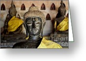Lao Greeting Cards - Three Times Enlightened Greeting Card by Dean Harte