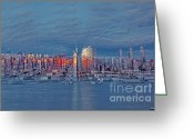 Woolworth Building Greeting Cards - Three Times New York City Greeting Card by Susan Candelario