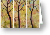 Beautiful Greeting Cards - Three Trees Triptych Greeting Card by Blenda Tyvoll