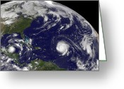 Disasters Greeting Cards - Three Tropical Cyclones Active Greeting Card by Stocktrek Images