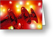Instrumental Greeting Cards - Three Trumpets Greeting Card by Garry Gay