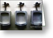 Urinal Greeting Cards - Three Urinals Greeting Card by Wingsdomain Art and Photography