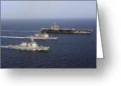 Frigate Greeting Cards - Three U.s. Navy Ships Sail In Formation Greeting Card by Stocktrek Images