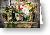 Graveyards Greeting Cards - Three Vases Greeting Card by Perry Webster
