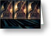 Grunge Greeting Cards - Three Violins Greeting Card by Bob Orsillo