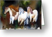 Equine Watercolor Portrait Greeting Cards - Three White Horses at the Edge of the Woods Greeting Card by Lil Taylor
