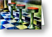 Julie Dant Photos Greeting Cards - Three White Steamer Stools Greeting Card by Julie Dant