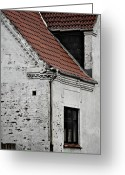 Tiled Roof Greeting Cards - Three Windows Greeting Card by Odd Jeppesen