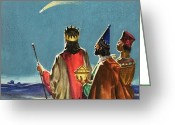 Star Of Bethlehem Greeting Cards - Three Wise Men Greeting Card by English School