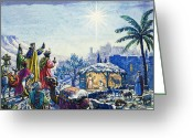 Stable Greeting Cards - Three Wise Men Greeting Card by Unknown