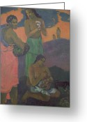 Gauguin Greeting Cards - Three Women on the Seashore Greeting Card by Paul Gauguin