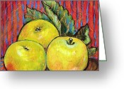 Warm Painting Greeting Cards - Three Yellow Apples Greeting Card by Blenda Tyvoll