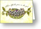 Pod Mixed Media Greeting Cards - Three Yorkie peas in the pod Greeting Card by Catia Cho