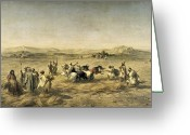 Adolphe Greeting Cards - Threshing Wheat in Algeria Greeting Card by Adolphe Pierre Leleux