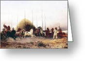 Thomas Moran Greeting Cards - Threshing Wheat in New Mexico Greeting Card by Thomas Moran