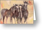 Horse Greeting Cards - Through A Horses Ears Greeting Card by Ron Patterson