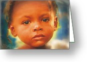 Haitian Greeting Cards - Through My Eyes Greeting Card by Bob Salo